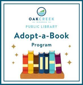 Oak Creek Wisconsin Public Library Adopt-a-Book Program logo