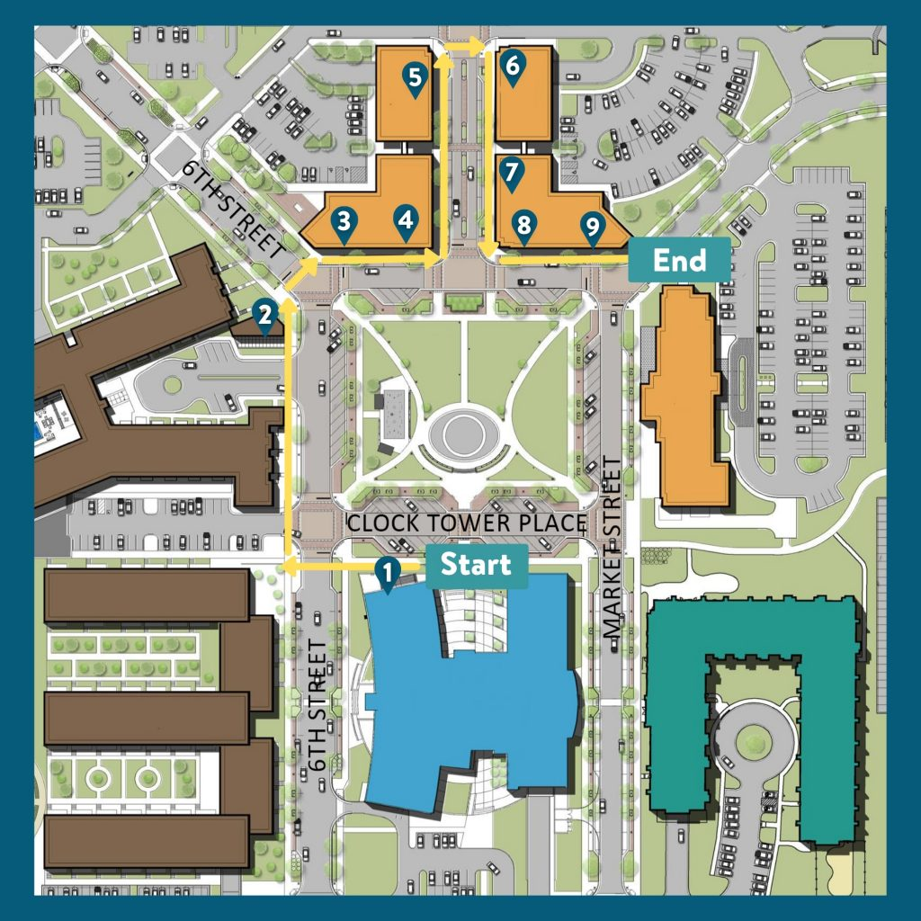 A map of Drexel Town Square that displays each stop along the StoryWalk.