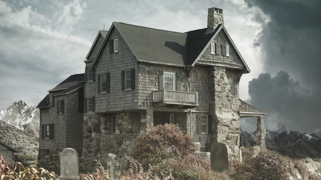 A ramshackle house on a stormy hill with stone grave markers on the front lawn