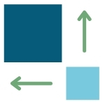 One large square, one small square, and two arrows pointing in different directions