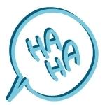 """""""HA HA"""" comic speech bubble"""