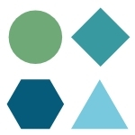 A green circle, a teal diamond, a dark blue heptagon, and a light blue equilateral triangle
