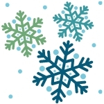 Three falling snowflakes