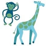 Monkey and giraffe
