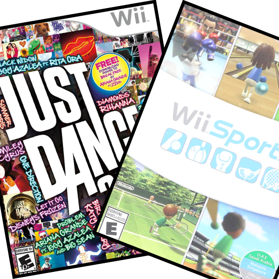 The video games Just Dance 2015 and Wii Sports